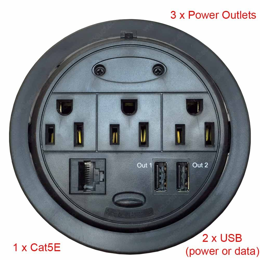 Electric Outlet Round Black (1D-2E-2USB)